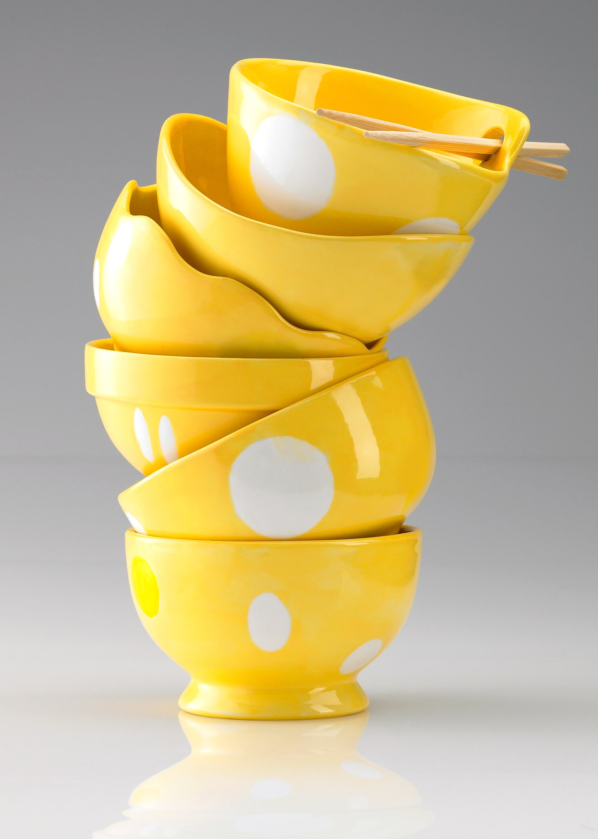 Gare Stacked Yellow Ceramic Bowls